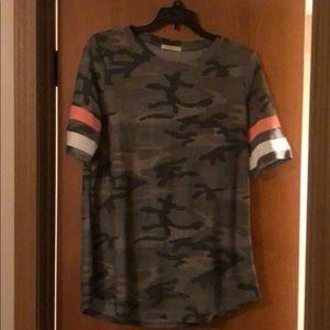 Camo tee with neon stripe on sleeve